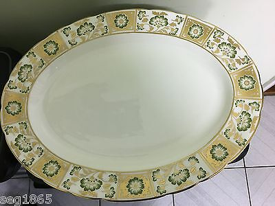 """Royal Crown Derby Green Panel Large 16"""" Oval Serving Platter 1St Quality Mmviii"""