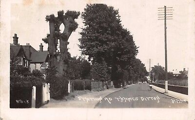 Surrey Thames Ditton Station Road Houses & Man On Bicycle Photo Card