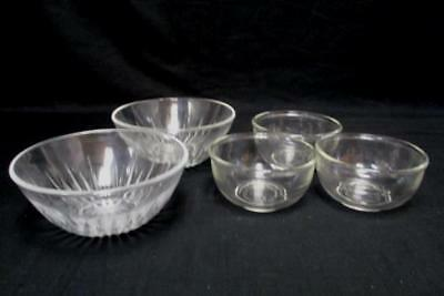 5 Small Clear Glass Round Mixing Serving Nesting Bowls Anchor Hocking