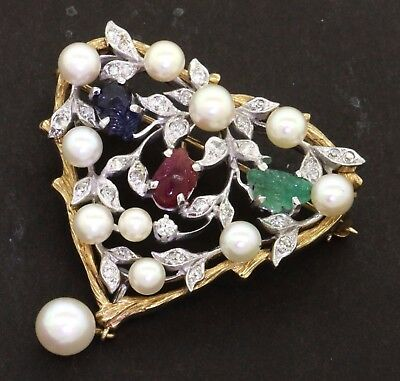 Vintage 14K 2-tone gold heavy 3.23CTW diamond carved gem & pearl brooch/pendant