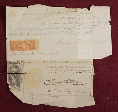 Antique 1866 Dismal Swamp Canal Company Stock Certificate Letter & Revenue Stamp