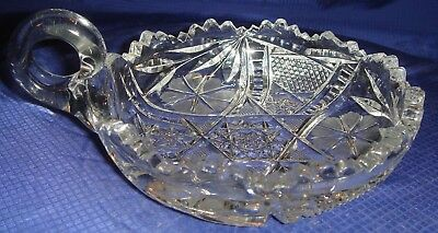 RP1272 Vtg EAPG Clear Glass Handled Candy Dish