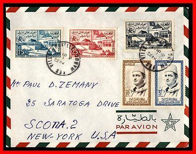 Morocco Fez to New York USA 1950s Multifranked Airmail Cover