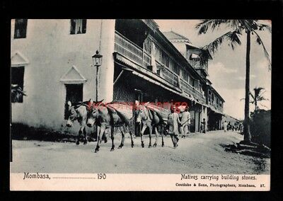 B.E.A. British East Africa MOMBASA NATIVES CARRYING BUILDING STONES Coutinho -08