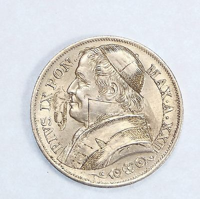 1867 Vatican/Papal States SILVER 2 Lire ALMOST UNC ~ Ornately carved Pope w/Pipe