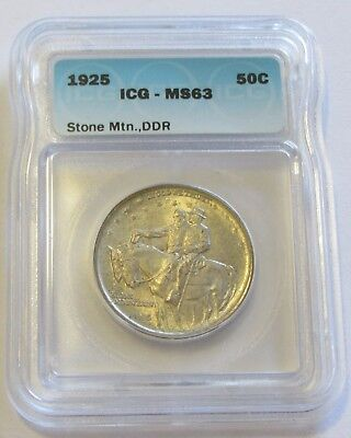 1925 Stone Mountain Silver Commemorative Half Icg Ms 63 Ddr