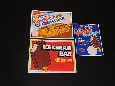 BORDEN DAIRY DECALS ELSIE THE COW ICE CREAM English Toffee Cracker Jack +