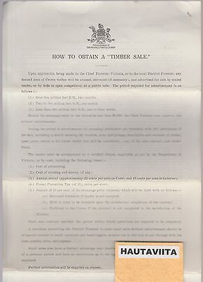 Timber Sale Conditions Document Government British Columbia Chief Forester 1920s