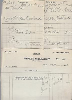 1947 Whales Upholstery Repair Documents Rocking Chair TO Toronto Ontario Canada