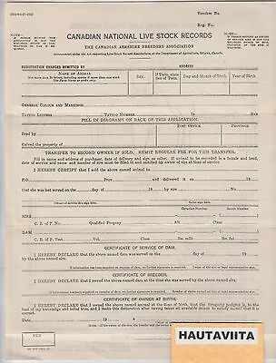 Canada Beef Cattle Ayrshire Breeders - National Lifestock Record Document 1920s