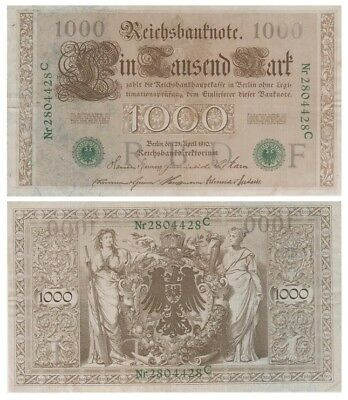 1.ooo Marks German banknote issued in 21.04.1910 C xf green colour serial number