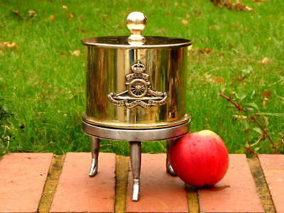 ROYAL ARTILLERY BRASS 1916 SHELL CASE TOBACCO BOX on MILITARY HORSE SHOE STAND