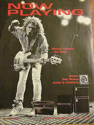 Michael Anthony, Van Halen, Ampeg Amps, Full Page Vintage Promotional Ad