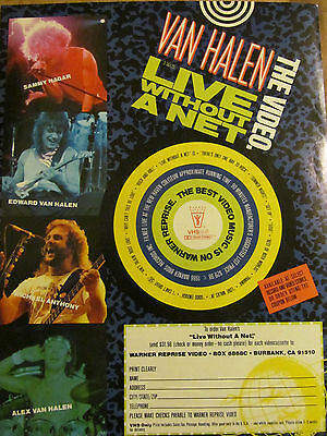 Van Halen, Live Without a Net Video, Full Page Vintage Promotional Ad