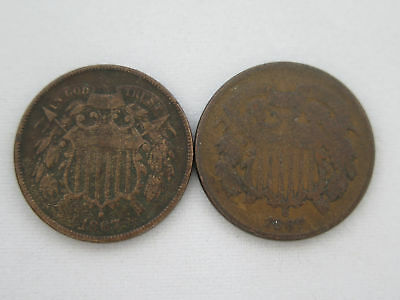 (2) 1867 U.S. 2c Two Cent Coins