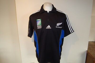 New Zealand All Blacks Rugby Union 2007 World Cup Polo Shirt Small Mens