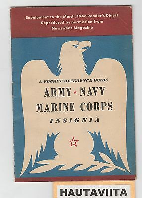 1943 US Army Navy Marine Insignia Badge Medal Book ReadersDigest Supplement WW2