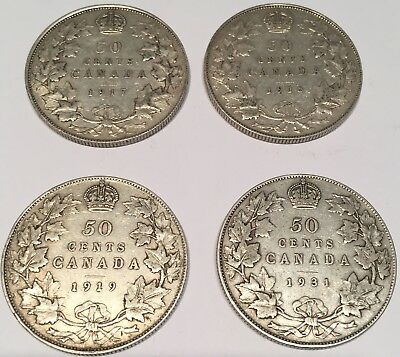 Beautiful set of 4 x early Canadian 50 cent pieces, 1917-18-19 & key date 1931.