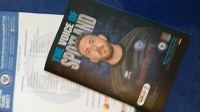 Rochdale v Northampton Tn programme 17 10 17 with official team sheet.  MINT.