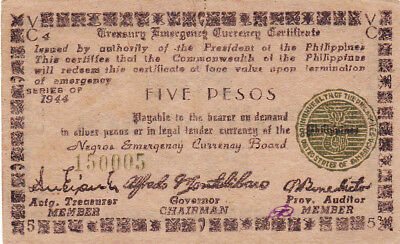 5 Pesos  Ef Guerilla  Banknote From 1944 Philippines/negros!pick-S675!
