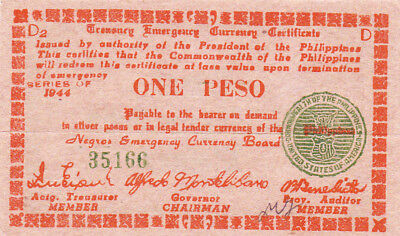 1 Peso  Aunc Guerilla  Banknote From 1944 Philippines/negros!pick-S661!