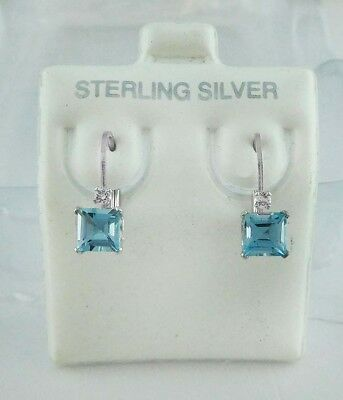GENUINE 1.18 Cts BLUE TOPAZ EARRINGS .925 Sterling Silver * Brand New With Tag *