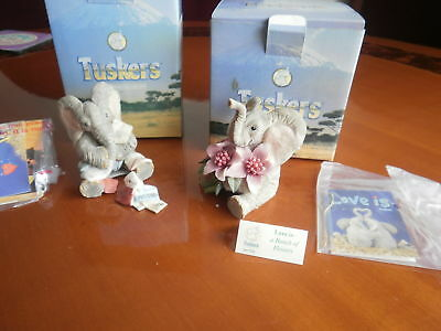 2 X -Tuskers,  LOVE IS MISSING YOU----LOVE IS A BUNCH OF FLOWERS--- VGC, Boxed