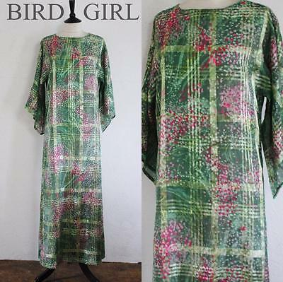 Boho Chic 1970S Vintage Green Floral Check Hippy Festival Long Dress 8-10 S