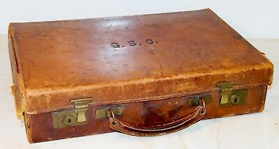 Vintage Small Brown Tan Leather Attaché / Briefcase Case - 1920's / 30's
