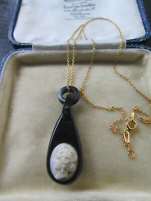 Antique Victorian Whitby Jet With Porcelain Cameo Pendant & Vermeil Chain,gothic