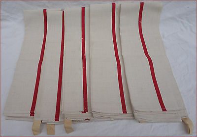 5 Unused French Cotton Linen Red Striped Towels Kitchen Cloths