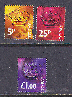 GB Postage Due stamps -1994 3 x Used - Collection odds