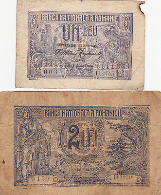1&2 Lei Vg-Fine Banknotes From Romania 1915-20!pick-17-27