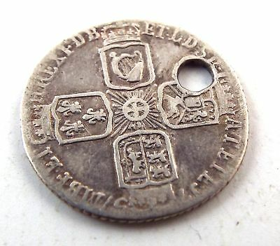 Antique King George II SILVER Half Crown COIN With Hole Dated 1757 - H59