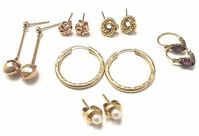 6x 375 9ct YELLOW GOLD Pairs of Earrings - Various Styles, 5.23g - C47