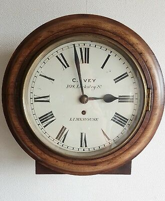 Fusee Wall Clock Antique English C. Ivey 108 Locksley Street Limehouse 10'' Dial