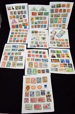 Collection of various Vintage WORLD Postage STAMPS Hinged on Pages - U04