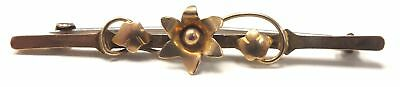 375 9ct YELLOW GOLD Flower Vintage Brooch, 1.26g - I03