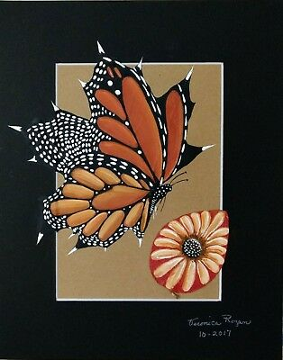 Hand Painted Real Maple Leaf- Monarch Butterfly