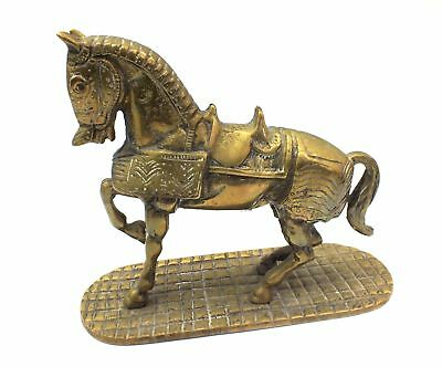 Large Vintage Brass Rearing War/Armoured Horse Ornament on Stand 22cm - H58