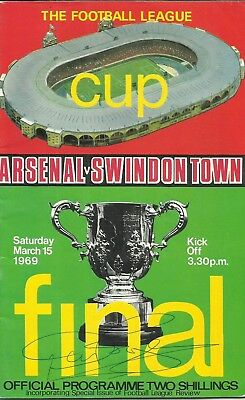 1969 FLC FINAL: Arsenal v Swindon Town, ORIGINALLY SIGNED by DON ROGERS!