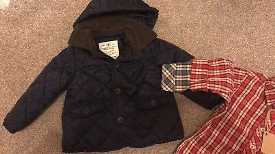 Zara Baby Boys Quilted Navy Blue Hooded Jacket - 18-24m BNWOT