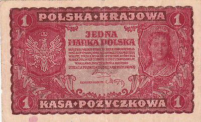 1 Marka Fine Banknote From Poland 1919!pick-23!!