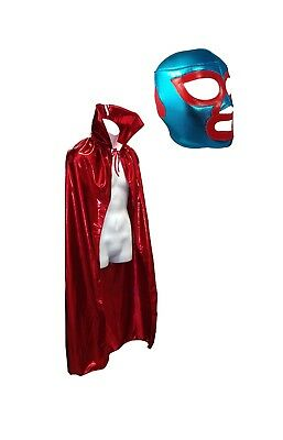 NACHO LIBRE Adult (pro-fit) Mask and Metallic Red Cape Halloween costume combo