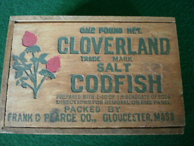 Vintage Dovetailed Wooden Cloverland Salt Codfish Box w/ Slide Lid