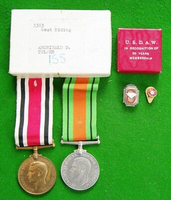 WW2 Police Medal + Defence Medal Boxed + 30 Year Service Badge & Rose Lapel Bge