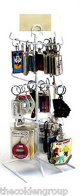 White 3 Tier 12 Peg Counter Spinner Display Rack Great for Key Chains & Jewelry
