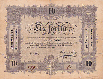 10 Forint Vg Banknote From Hungarian Rebell Government 1849!pick-S117
