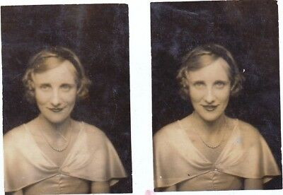 Two Vintage Photo's Of Pretty Young Lady Wavy Hair Lipstick Sparkly Eyes 1930's
