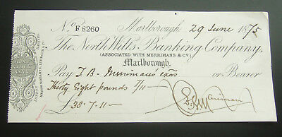 British 1875 Cheque : The North Wilts Banking Co. Marlborough, (Assoc Merrimans)